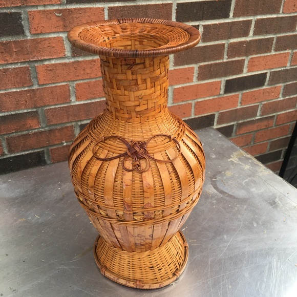 Vintage Other - Vintage Boho Wicker Rattan Woven Basket Vase Decor